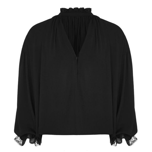 Schwarzes Schlupfhemd mit Bischofsärmeln und Rüschen