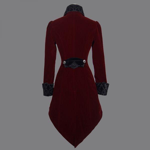 Samt Frack Mantel in viktorianischem Look bordeaux rot
