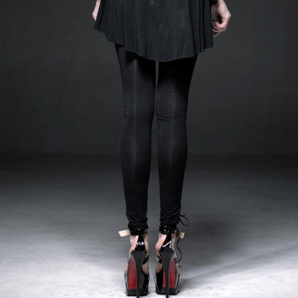 Dark Romantic Leggings mit Netzeinsatz und Häkelspitze