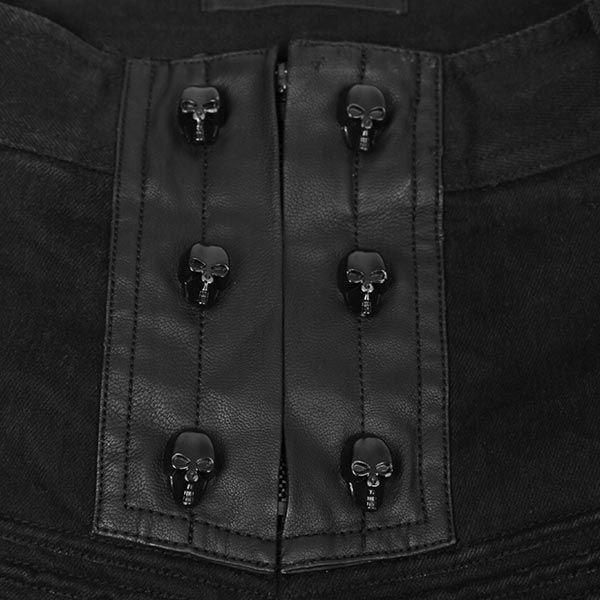 Hose mit Kunstleder-Applikationen & Skull Knöpfen