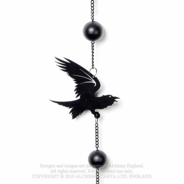 Okkultes Windspiel mit schwarzen Raben