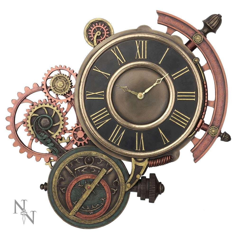 Steampunk Wanduhr Mit Sextant Und Astrolabium Voodoomaniacs