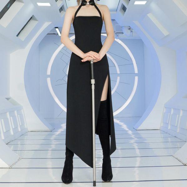 Sexy Slip-Dress mit keilförmigem Schlitz und Halsband