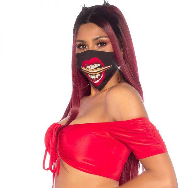 Gesichtsmaske mit Aufdruck Patronenhülse