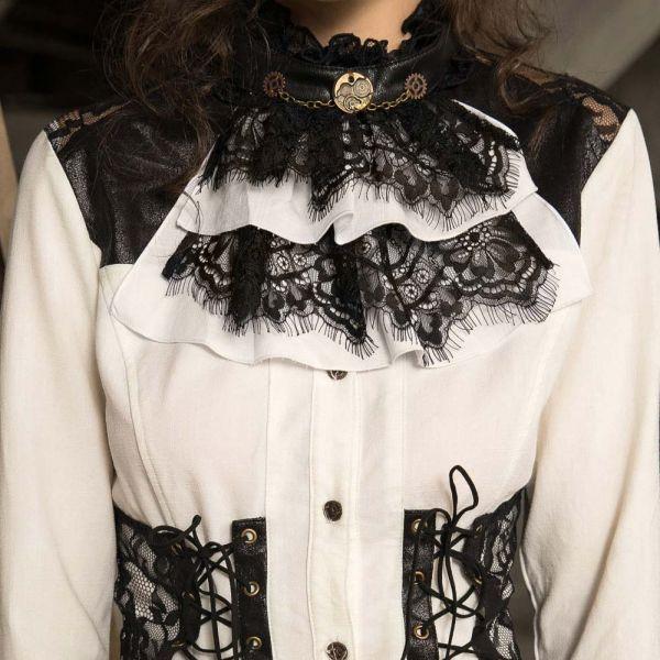Steampunk Style Rüschenbluse mit Spitze und Kragen