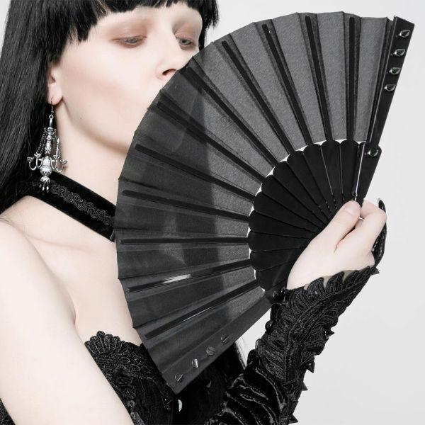 Gothic Lolita Faltfächer im Fetisch Style mit Spikes
