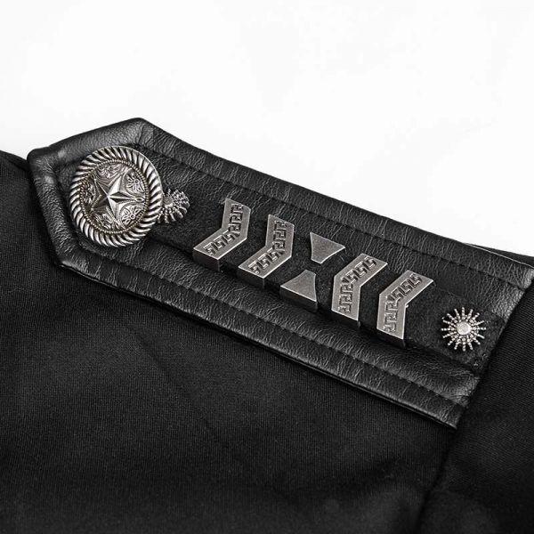 Hemd im Military Look mit Lederimitat und Epauletten