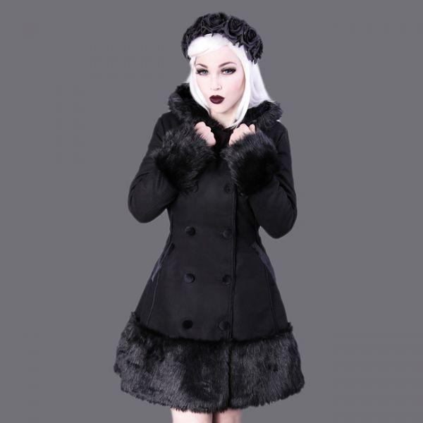 Gothic Lolita Mantel mit Kunstfell und Kapuze