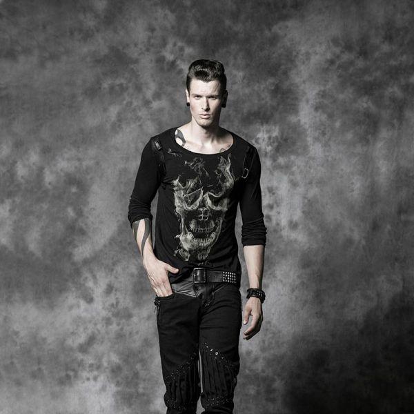 Langarm Shirt mit flamed Skull Aufdruck