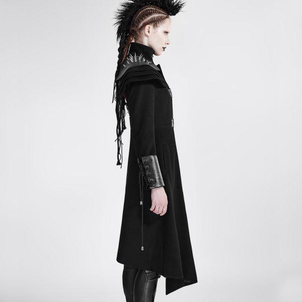 Damen Mantel asymmetrisch - Offiziersmantel Stehkragen