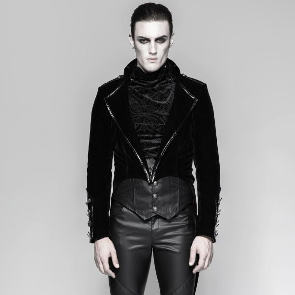 Schwarzer Samt Frack im Uniform Look mit rotem Futter