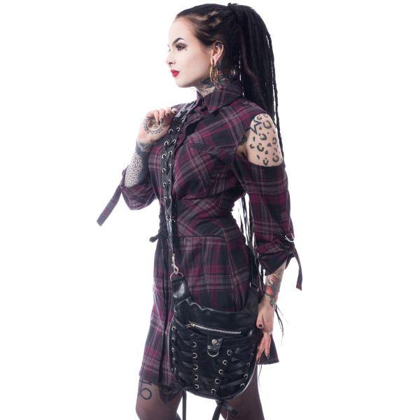 Crossover Bag im Gothic Leder-Look mit Schnürung
