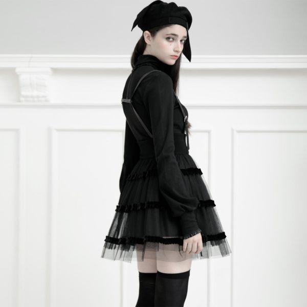 Gothic Lolita Glockenrock mit abnehmbaren Hosenträgern