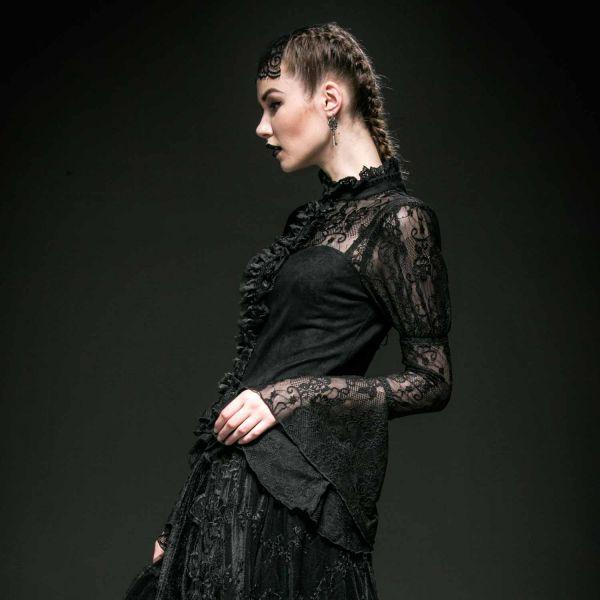 Viktorianische Spitzenbluse mit Trompetenärmeln