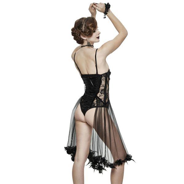 Sexy Body Top aus transparenter Spitze mit Tüll Volants