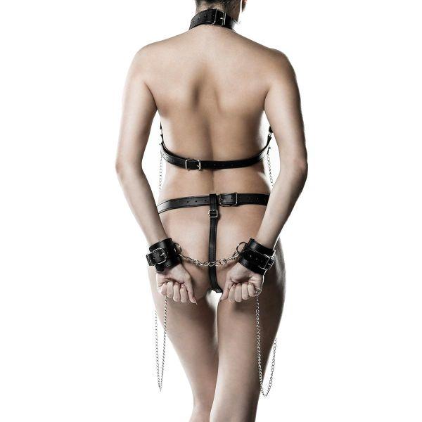Bondage Look Dessous Set mit Maske, O-Ring und Ketten