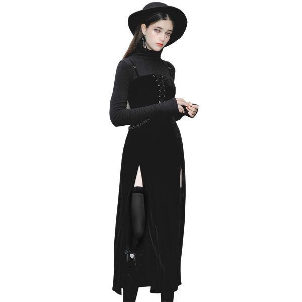 Figurbetontes Samt Slip Dress mit hohen Schlitzen