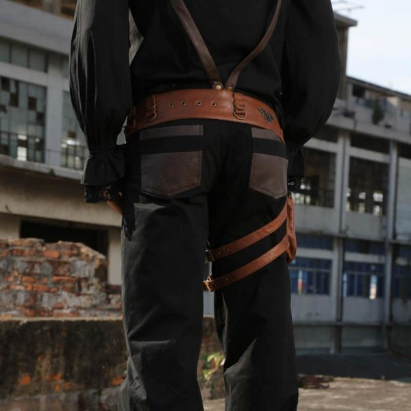 Steampunk Hüftgürtel mit Beinholster und Tasche