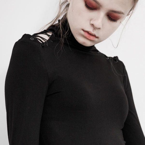 Cold-Shoulder Rollkragen Shirt mit Daumenlöchern