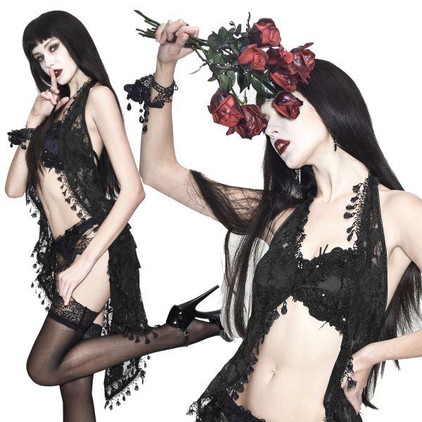 Neckholder Negligee Kleid aus Spitze mit Rosenblüten