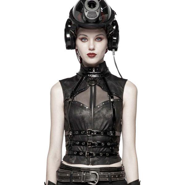 Fetisch Harness im Lack Cyber Wirbelsäulen Look