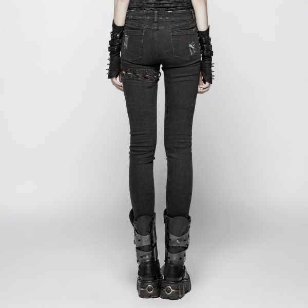 Destroyed Jeans im washed out Look mit Schnürung