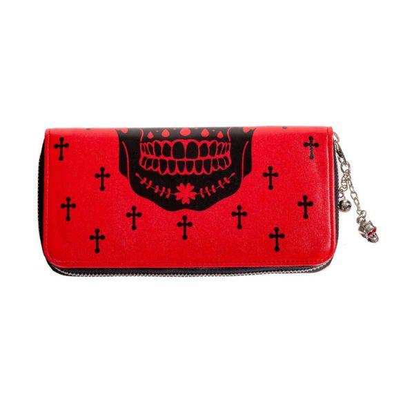 Rote Geldbörsen Clutch mit Skull & Crosses Motiv