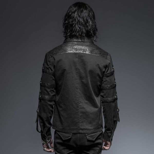 Schwarzes Hemd mit Reißverschluss und Schnalle