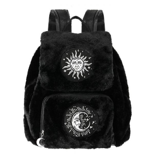 Plüsch Rucksack mit Sonne und Mond Aufnäher