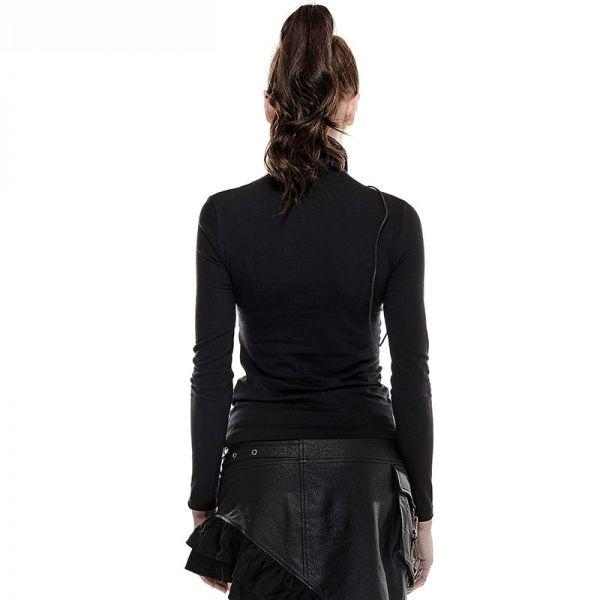 Gothic Style Shirt mit Netz und hohem Schal Kragen