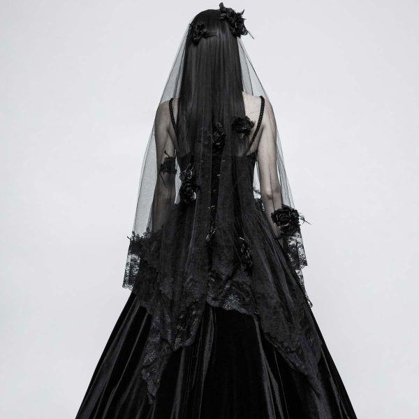 Schwarzer Gothic Schleier mit Rosenblüten und Spitze
