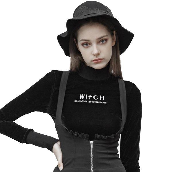 Witch Shirt mit Stehkragen und breiten Armbündchen