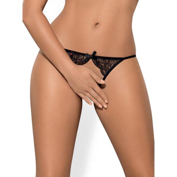 Sexy ouvert Panty mit Spitze und Schnürmuster am Po