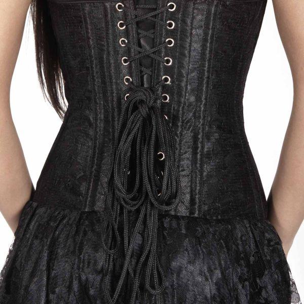 Langes schwarzes Kleid mit Corsage - Mollflander Dress ...