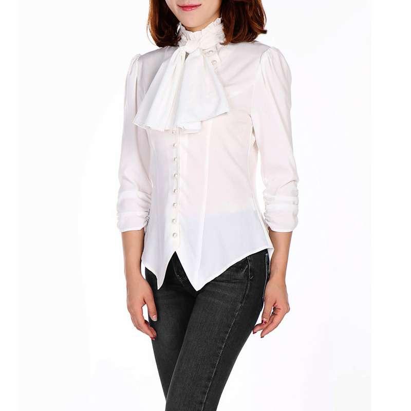 Weisse Bluse mit hohem Kragen und Puffärmeln   VOODOOMANIACS ac83cf4c92