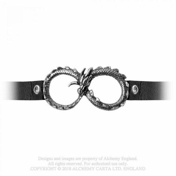 Infinitum Halsband mit Drachen Unendlichkeites Symbol