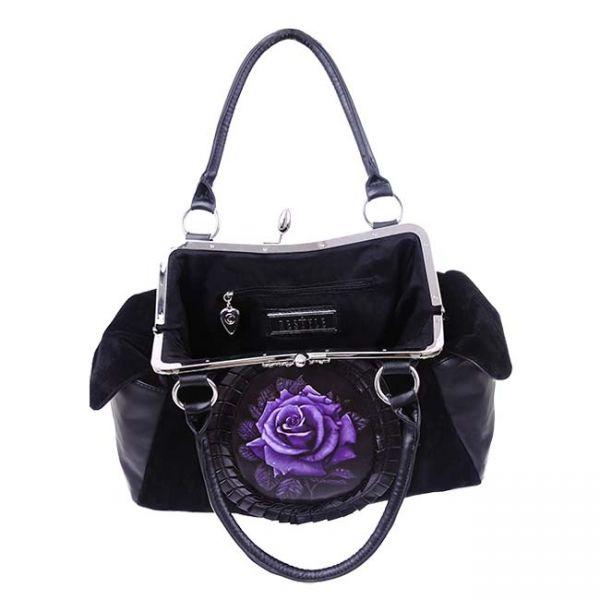 Schwarze Handtasche mit Rosen Applikation - Purple Rose