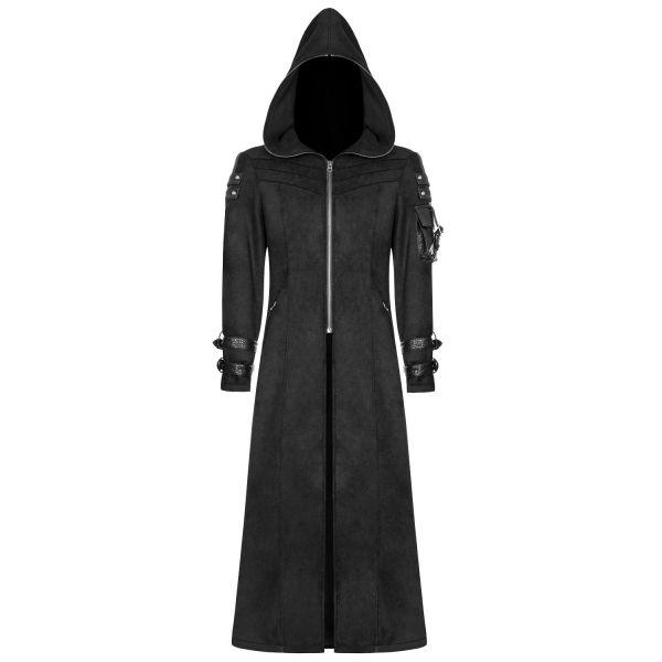 Langer Mantel mit Kapuze im Industrial Look