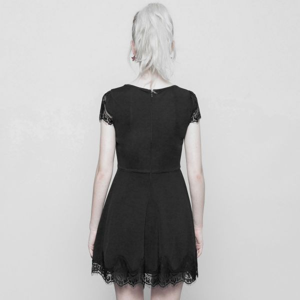 Dark Romantic Minikleid mit Spitzensaum und Cut-Out