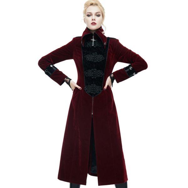 Blutroter Samt Mantel im Vampir-Stil mit Verzierungen