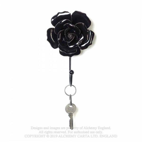 Schwarze Rosenblüte Deko Haken