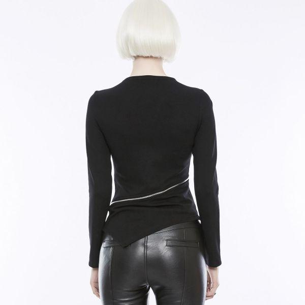Asymmetrisches Daily Goth Shirt mit beweglichem Zipper