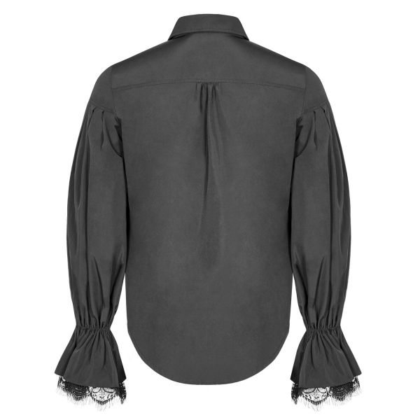 Dark Romantic Fledermaus Hemd mit Ballonärmeln