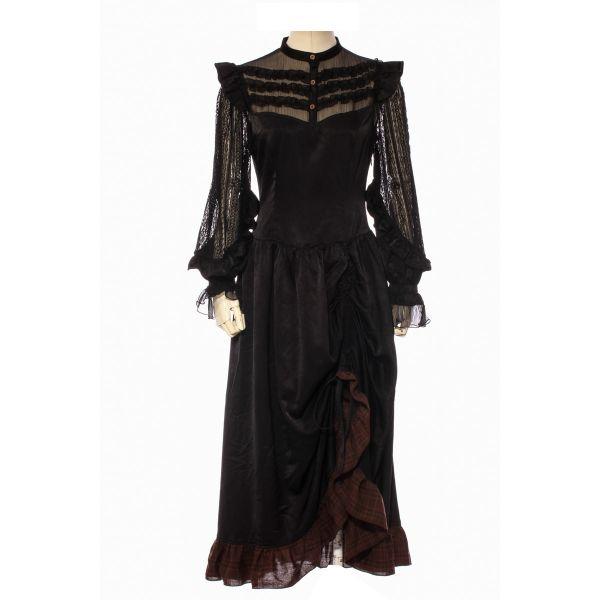Steampunk Kleid mit Rüschenbluse und Raffrock