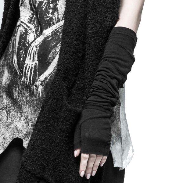 Schwarze Armstulpe in zerschlissener Wickeloptik