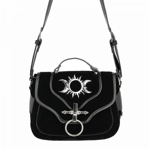 Triple Goddess Schultertasche in Velourleder Optik