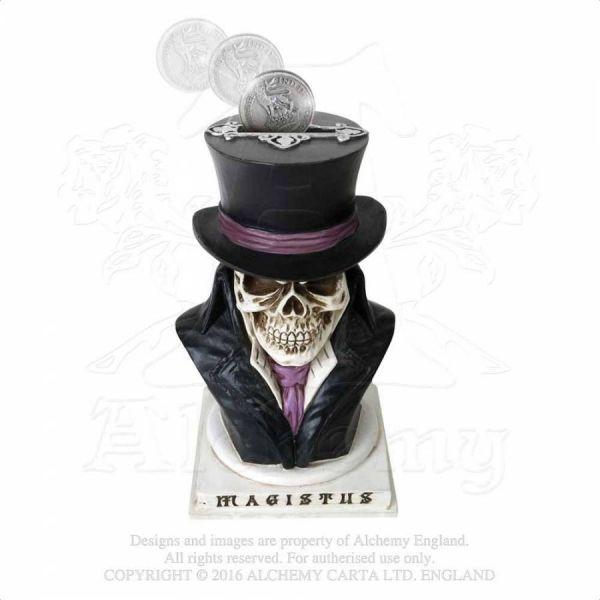 Gothic Spardose Alchemist mit Zylinder Büste