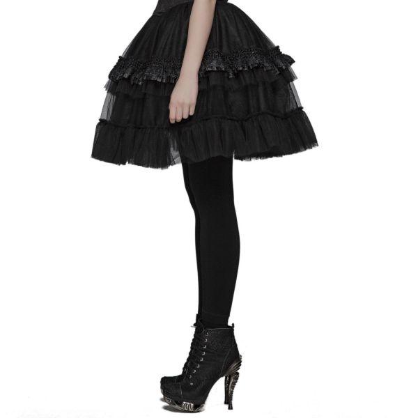 Gothic Lolita Rüschenrock aus Tüll und Spitze