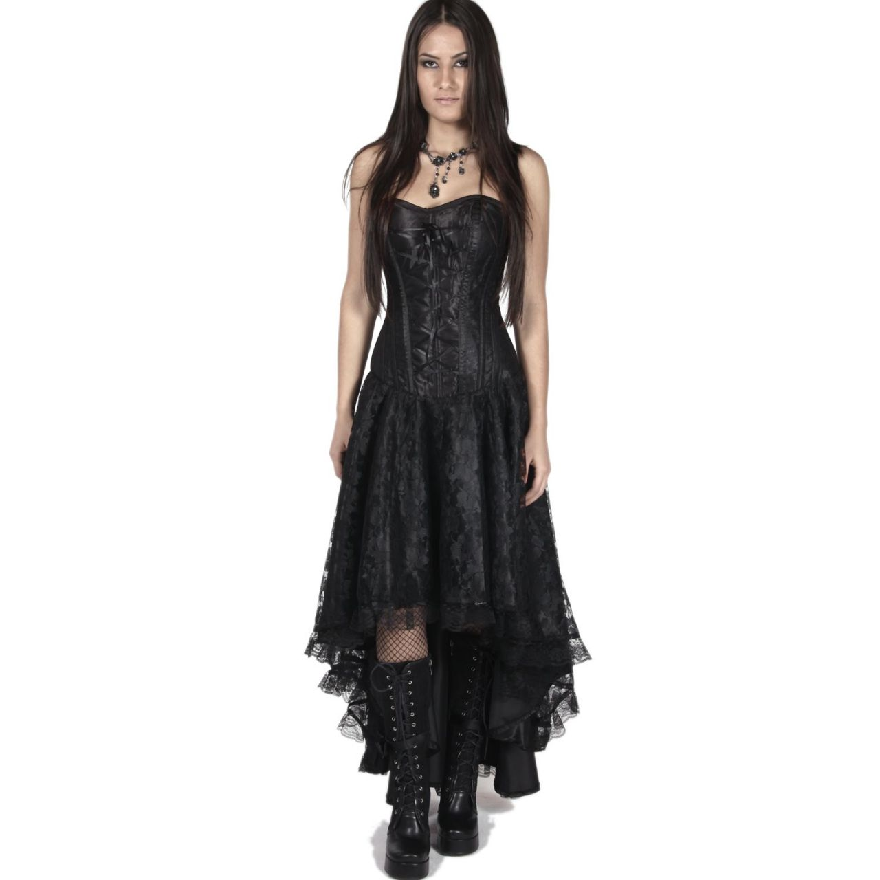 Langes schwarzes Kleid mit Corsage - Mollflander Dress  VOODOOMANIACS