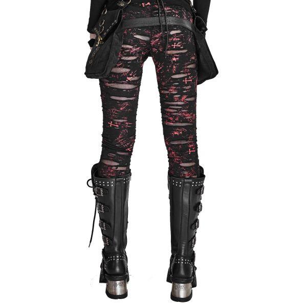 Punk Leggings schwarz-rot mit Löchern